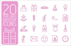 Thin line happy birthday icons set concept. Vector Royalty Free Stock Photography