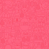 Thin Line Happy Easter Seamless Pink Pattern Stock Photo