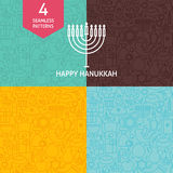 Thin Line Happy Hanukkah Holiday Patterns Set Stock Photos