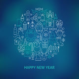Thin Line Happy New Year Holiday Icons Set Circle Shaped Concept Royalty Free Stock Photography