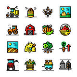 Thin line Harvest icons set, vector illustration. Thin line Harvest icons set, Agricultural and Farm Work outline logos vector illustration Royalty Free Stock Photography