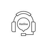 Thin line headphone like hotline Royalty Free Stock Image