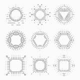 Thin line hipster frames for emblems and badges. Element or sign retro vintage label, logo template, symbol laconic design, vector illustration Stock Photo