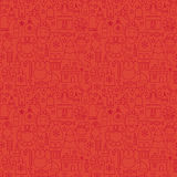 Thin Line Holiday Christmas Red Seamless Pattern Royalty Free Stock Photography