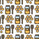 Thin line honey jar and honeycomb seamless pattern Royalty Free Stock Photography
