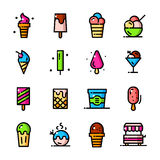 Thin line Ice cream icons set, vector illustration Stock Images