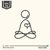 Thin line icon - Meditator Royalty Free Stock Photography