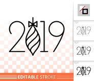 2019 simple new years eve black line vector icon. 2019 thin line icon. Outline web new years eve sign. Numbers banner linear pictogram with different stroke stock illustration