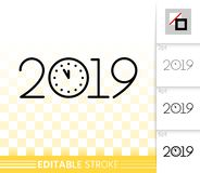 2019 new years eve simple black line vector icon stock illustration