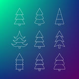 Thin line icon set of Christmas trees Stock Photos