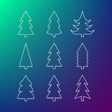 Thin line icon set of Christmas trees Royalty Free Stock Photo