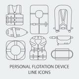 Thin line icon set Life jackets  icons Stock Image