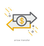 Thin line icons, arrow transfer Stock Photography