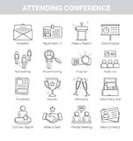 Thin line icons for attending conference Stock Photography