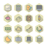 Thin Line Icons For Business and Finance Royalty Free Stock Images
