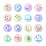 Thin Line Icons For Business and Finance Stock Photos