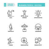 Thin line icons. Business people. Success Royalty Free Stock Images