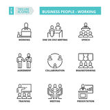 Thin line icons. Business people working. Flat symbols about business people working. Thin line icons set royalty free illustration