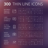 Thin Line Icons For Business, Technology and Leisure Stock Photos