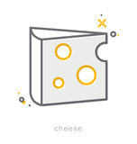 Thin line icons, Cheese Stock Photos