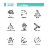 Thin line icons. Christmas Royalty Free Stock Images