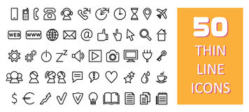 50 thin line icons. 50 thin line different icons vector illustration