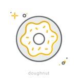 Thin line icons, Doughnut Royalty Free Stock Image