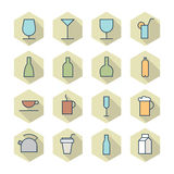 Thin Line Icons For Drinks Stock Photo