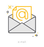 Thin line icons, E mail Stock Photography