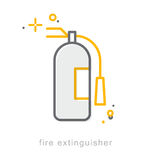 Thin line icons, Fire extinguisher Royalty Free Stock Image
