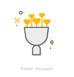 Thin line icons, Flower bouquet Royalty Free Stock Photos