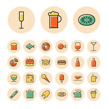 Thin line icons for food and drinks Royalty Free Stock Photos