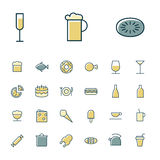 Thin line icons for food and drinks Stock Image