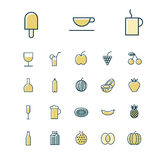 Thin line icons for food and drinks Royalty Free Stock Photo