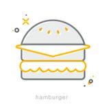 Thin line icons, Hamburger Royalty Free Stock Photo