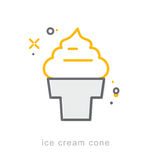 Thin line icons, Ice cream cone Royalty Free Stock Images