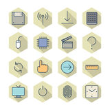 Thin Line Icons For Interface Stock Photography