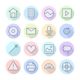 Thin Line Icons For Interface Royalty Free Stock Photo