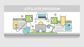 Thin line icons for internet marketing campaign Stock Photo