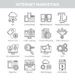 Thin line icons for internet marketing and seo Stock Photo
