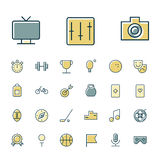 Thin line icons for leisure, travel and sport Stock Photo