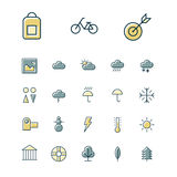Thin line icons for leisure, travel and sport. Vector illustration Stock Photo