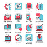 Thin line icons of media, marketing, advertising. Thin line icons of digital marketing, video advertising, social media campaign, newsletter promotion, website royalty free illustration