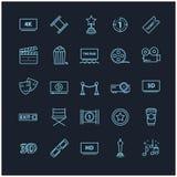 Thin line icons - movie, cinema, video. For you design Stock Photos