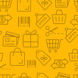 Thin line icons pattern, Shopping. Icon Royalty Free Stock Photos