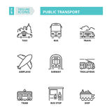 Thin line icons. Public transport Royalty Free Stock Image