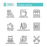 Thin line icons. School supplies Stock Photo