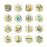 Thin Line Icons For Science and Education Stock Photos