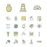 Thin line icons for science and industrial Royalty Free Stock Photo
