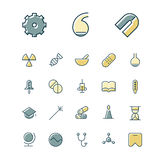 Thin line icons for science and medical Royalty Free Stock Photos